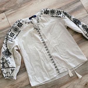 Boho Embroidered Top Small